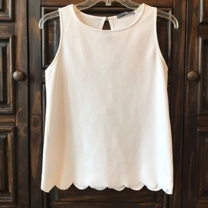 Scalloped Edge White Tank